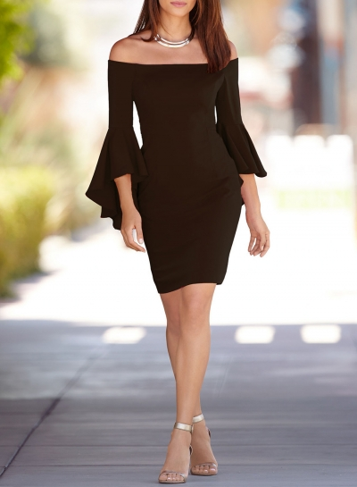 Women's Fashion off Shoulder Flounce Sleeve Bodycon Party Dress
