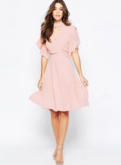 Women's Solid Halter V Neck Ruffle Sleeve Chiffon Party Dress