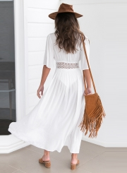 Women's Deep V Neck Half Sleeve High Slit Maxi Beach Dress