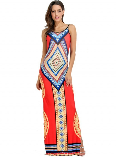 Women's Fashion Bohemian Geometric Print Sleeveless Backless Maxi Dress