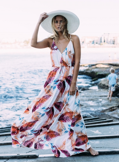 Women's Bohemian Spaghetti Strap Leaves Print Maxi Dress