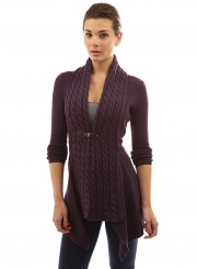Women's Fashion Long Sleeve Cable Knit Irregular Cardigan