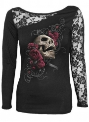 Women's Fashion Lace Long Sleeve Halloween Floral Skull Tee