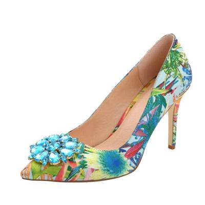 Women's High Heels Rhinestone Pointed Toe Floral Pumps STYLESIMO.com