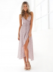 Deep V Neck Floral Printed High Split Maxi Dress