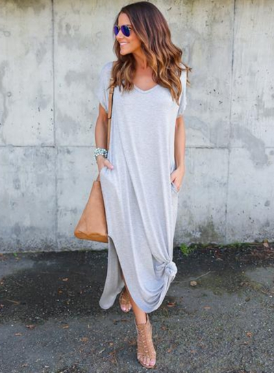 V Neck Short Sleeve Loose Fit Side Slit Maxi Dress