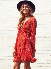 V Neck Long Sleeve Polka Dot Ruffle Dress
