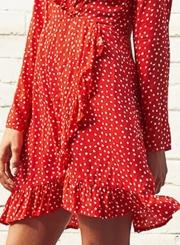 V Neck Long Sleeve Polka Dot Ruffle Dress