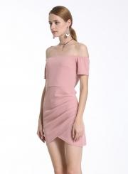 0af0db112e18 ... Women s Fashion off Shoulder Short Sleeve Irregular Bodycon Solid Dress  ...