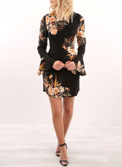 Women's Fashion Floral Long Flare Sleeve Bodycon Dress