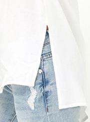 Women's Solid V Neck Lace-up Side Slit Blouse