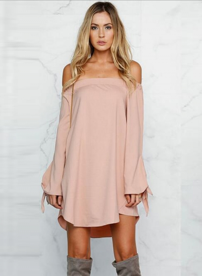 Women's Casual off Shoulder Long Sleeve Loose Mini Dress