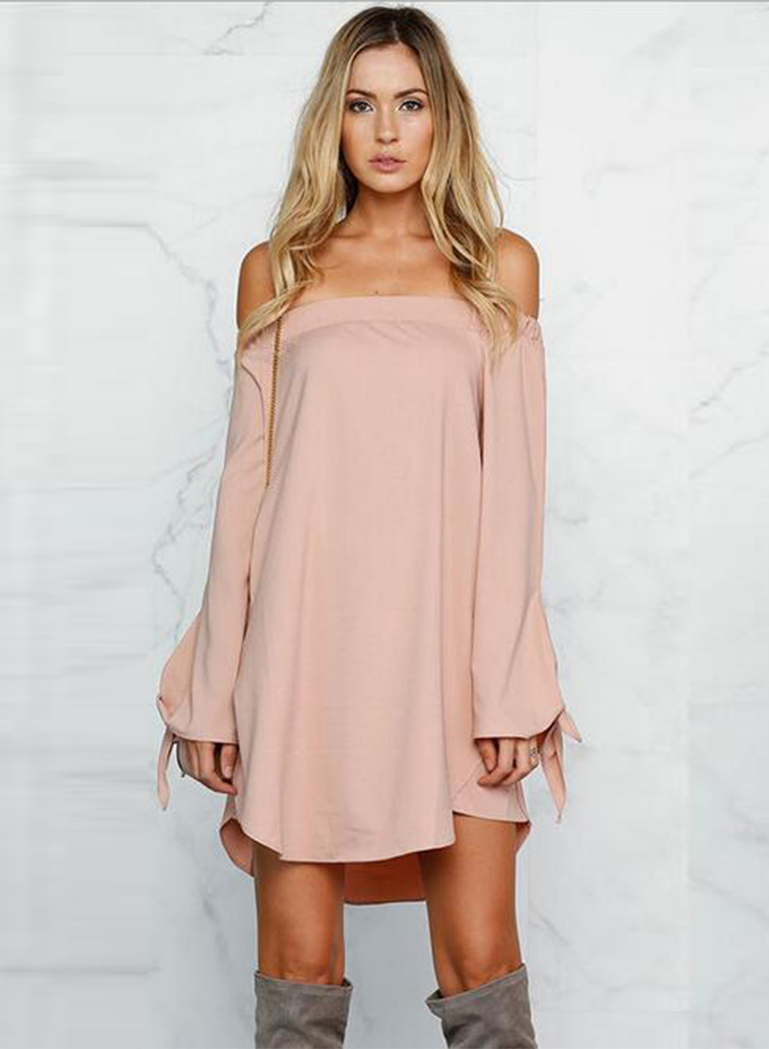 660ca20cddb Women S Casual Off Shoulder Long Sleeve Loose Mini Dress Stylesimo