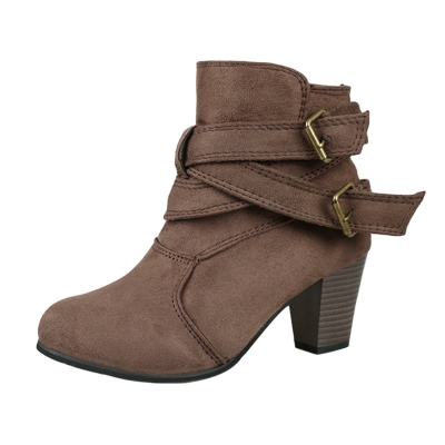 Women's Solid Round Toe Block Heels Buckle Strap Boots