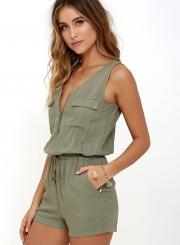 Women Solid Sleeveless Zipper Romper Army Green V Neck Short Rompers