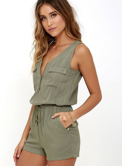 Women Solid Sleeveless Zipper Romper Army Green V Neck Short Rompers