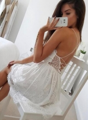 Women's Sexy Deep V Neck Sleeveless Backless Lace Slip Mini Dress