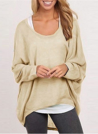 Women's Fashion Batwing Sleeve Loose Fit Solid Knit Sweater