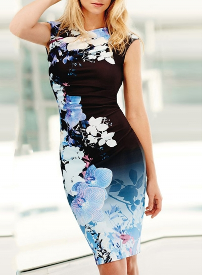 Women's Fashion V Neck Sleeveless Floral Bodycon Dress