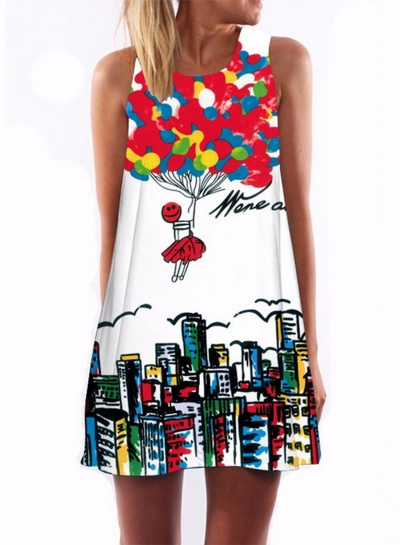 Women's Sleeveless Digital Printing Loose FIt Mini Dress