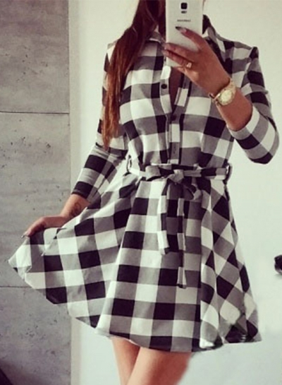 Women's Fashion Long Sleeve Plaid Shirt Dress with Belt
