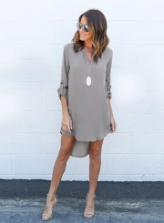 Women's Solid V Neck Long Sleeve High Low Solid Dress
