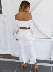 Women's Slash Neck Off Shoulder Lace Flare Sleeve Maxi Dress