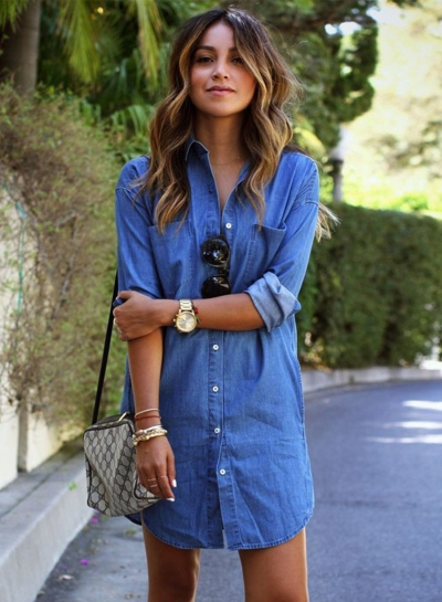 Women's Long Sleeve Button down Mini Denim Shirt Dress