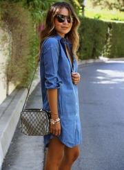Women's Long Sleeve Button down Mini Denim Shirt Dress