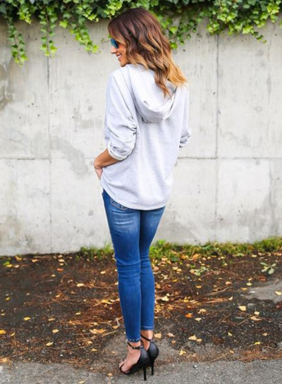 Women's Fashion Lace-up Loose Fit Pullover Hoodie stylesimo.com