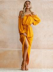 Women's Slash Neck Long Sleeve Back Slit Maxi Dress