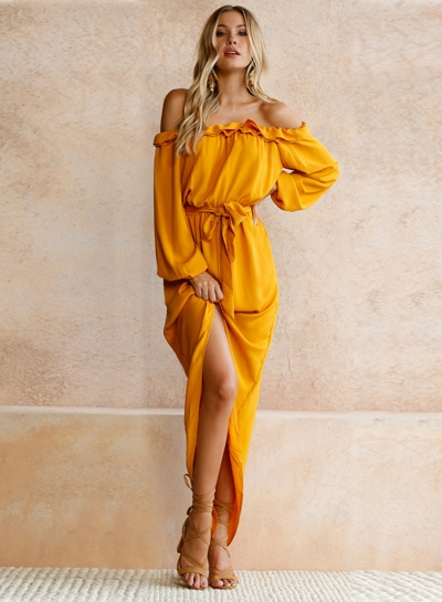 Women's Slash Neck Long Sleeve Back Slit Maxi Dress