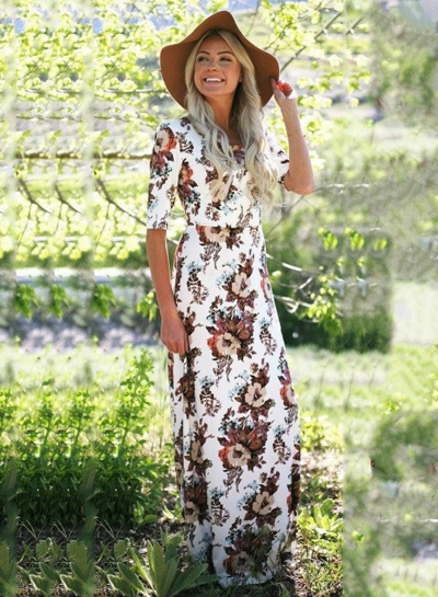 Women's Floral Half Sleeve Maxi Dress