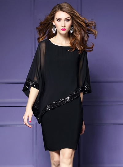 Women's Batwing Sleeve Sequins Chiffon Dress STYLESIMO.com