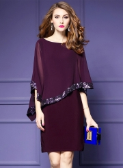 Women's Batwing Sleeve Sequins Chiffon Dress