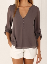 Women's Fashion V Neck Long Sleeve Solid Irregular Blouse