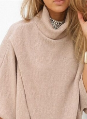 Women's Casual High Neck Asymmetric Solid Pullovers