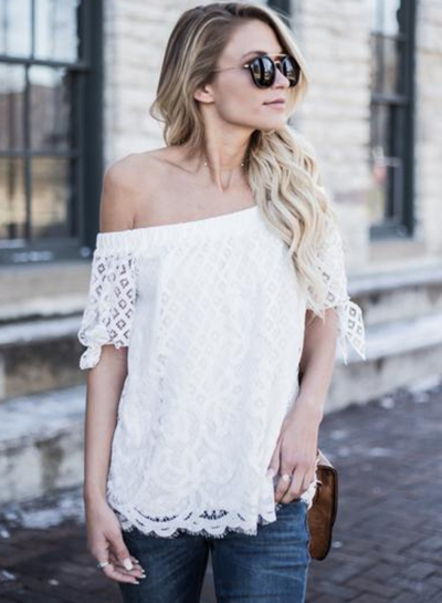 Women's Casual Off Shoulder Lace Long Sleeve Blouses