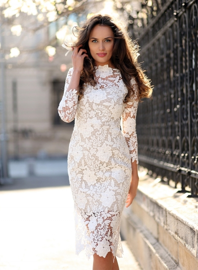 Women's Fashion Long Sleeve Floral Lace Bodycon Dress