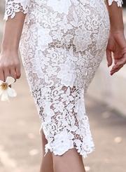 Women's Fashion Long Sleeve Floral Lace Bodycon Dress