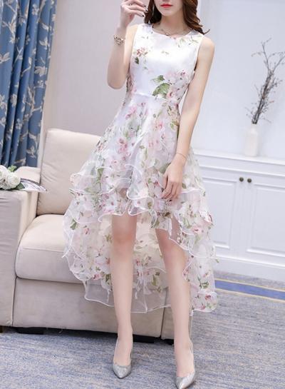 Women's Fashion Round Neck Sleeveless Floral Print High Low Dress stylesimo.com