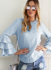 Women's Fashion Solid Long Ruffle Sleeve Pullover Blouse