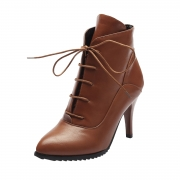 Women's Solid Stiletto Heels Pointed Toe Lace up Boots