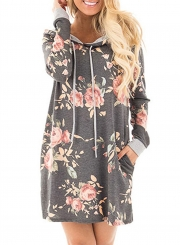 Women's Floral Long Pullover Hoodie with Pocket