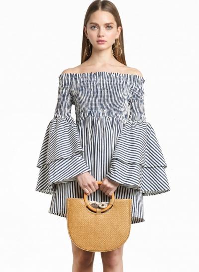 Women's Slash Neck Flounce Sleeve Striped Mini Dress