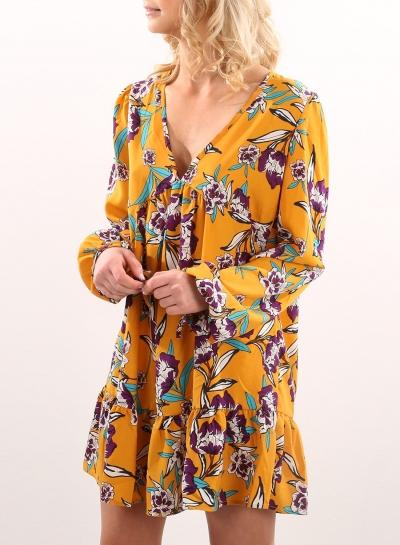 Women's V Neck Long Sleeve Floral Printed Mini Dresses