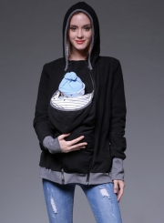Women''s Maternity Kangaroo Long Sleeve Solid Hoodies