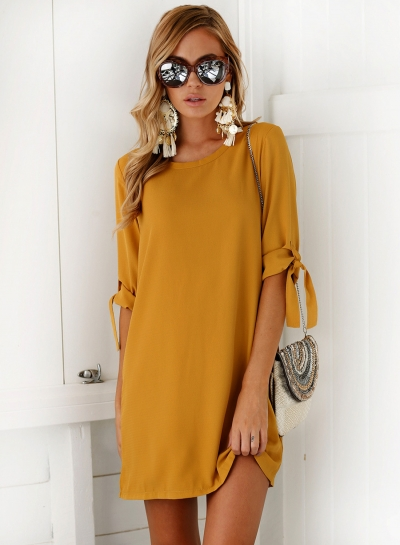 Women's Round Neck Half Sleeve Solid Mini Dresses STYLESIMO.com