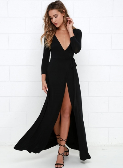 Women's Sexy Deep V Neck Long Sleeve Slit Maxi Dresses