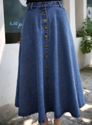 Women's A-line Button down Maxi Denim Pleated Skirt
